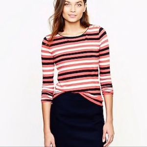 J Crew Painter Tee Small S Boatneck, Gold Button
